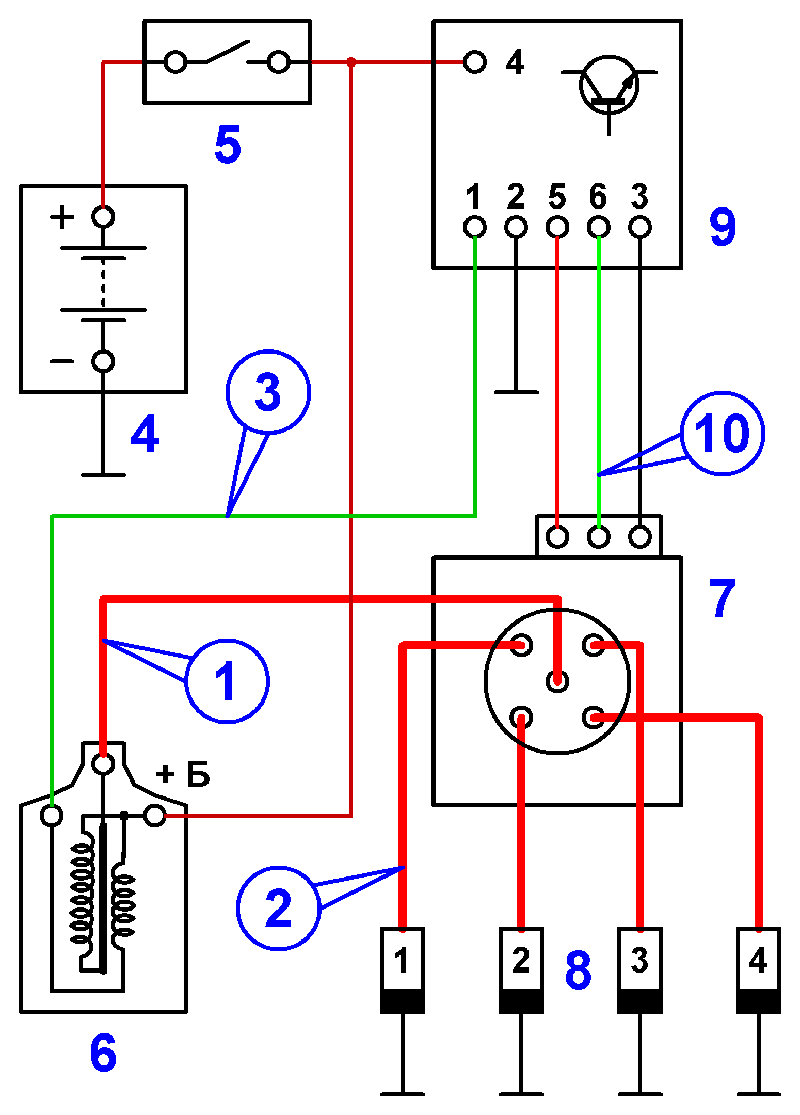 Wiring diagram for distributor ignition. This system switches the primary circuit using a transistor