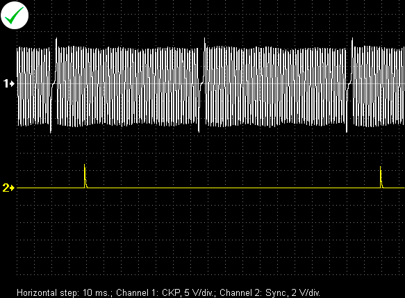 Typical waveform from an inductive crankshaft position sensor.