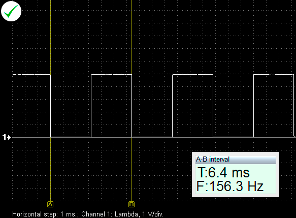 Output voltage waveform from a properly functioning MAP sensor with frequency output.