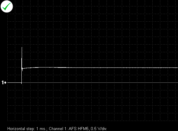 Output voltage waveform from a properly functioning air flow sensor BOSCH HFM5. Moment of turning the ignition on.