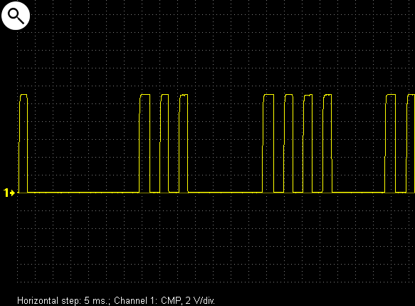 Output voltage waveform from the camshaft position sensor on a Nissan X-Trail 2.0 2003