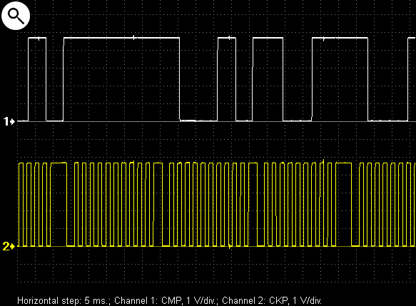 Output voltage waveforms from the crankshaft and camshaft position sensors on a Mitsubishi Pajero IV.