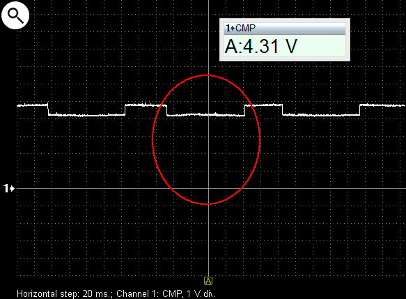 Output voltage waveform from a malfunctioning Hall effect camshaft position sensor