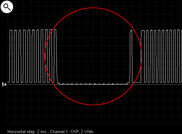 Output voltage waveform from a malfunctioning crankshaft position sensor