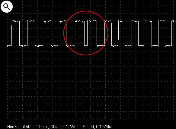 Output voltage waveform from an MR wheel speed sensor