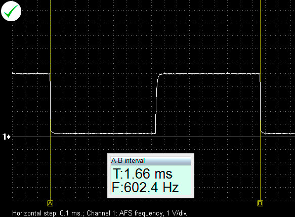 Output voltage waveform from a properly functioning mass air flow sensor with a frequency output (Opel Vectra C 2.2i 2006). KOEO(KeyOnEngineOff).