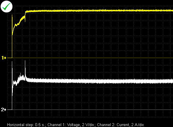 Voltage and current waveforms of a properly functioning fuel pump