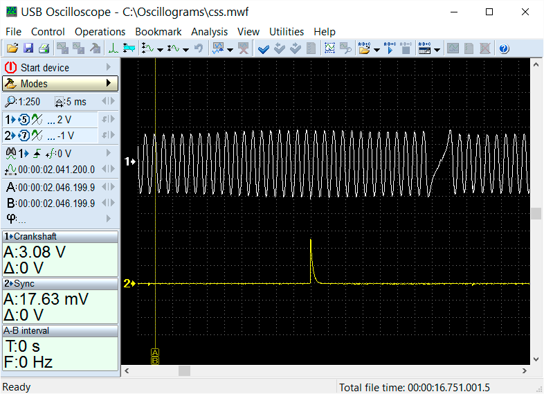CKP and ignition signal as shown on an oscilloscope screen