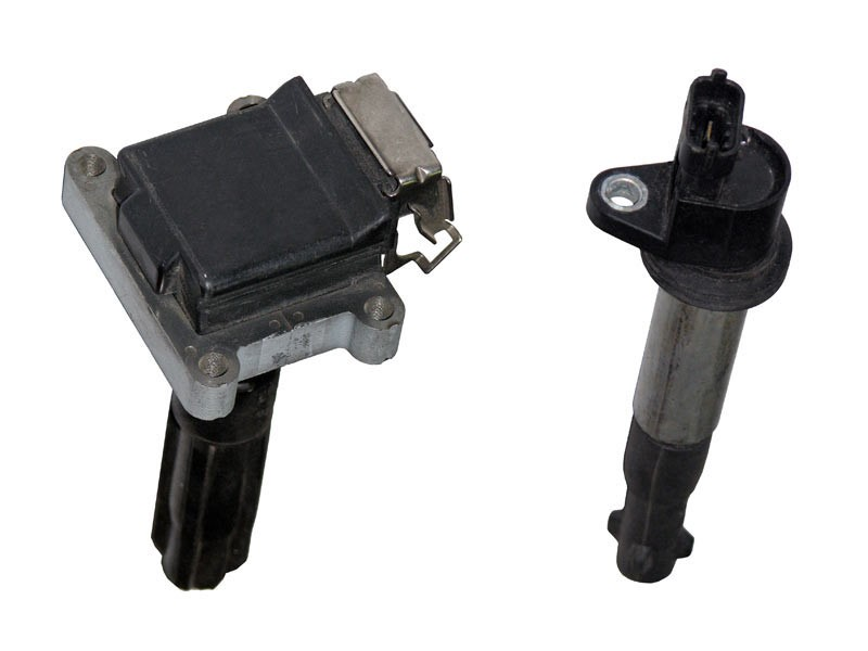 Compact (left) and rod (right) individual ignition coils installed directly above spark plugs