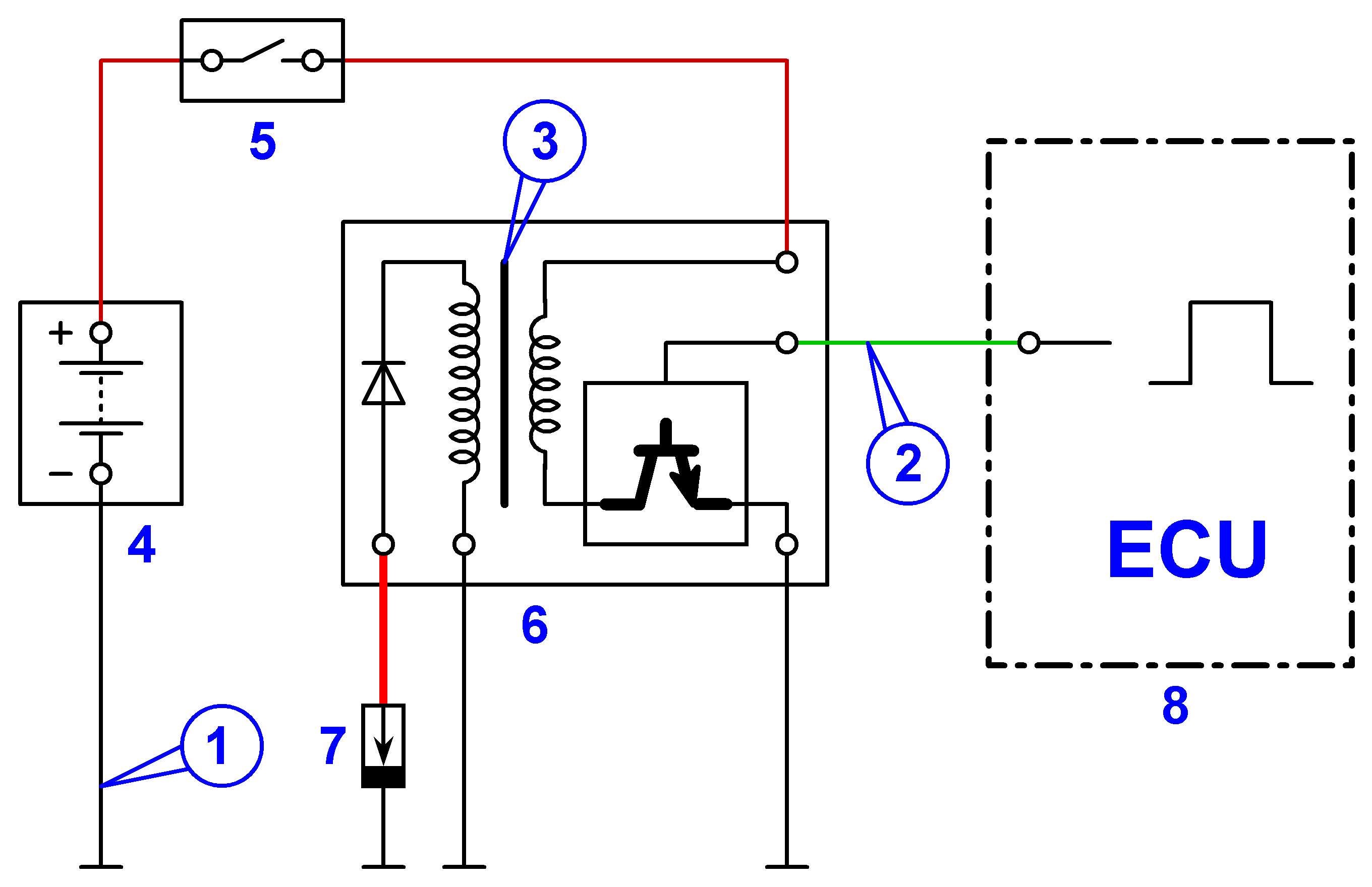 The circuit of individual ignition system with the built-in ignition control module